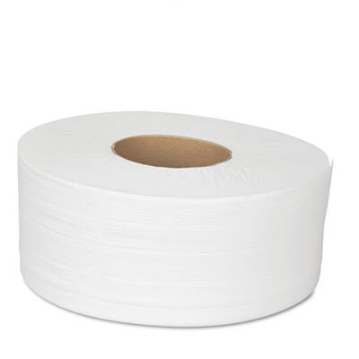 Boardwalk JRT Bath Tissue, Jumbo, Two-Ply, 1000 Feet/Roll, 12 Rolls/Carton, White