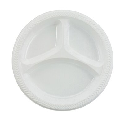 "Boardwalk (125 Per Container) 10"" 3 Compartment Plastic Plate in White"