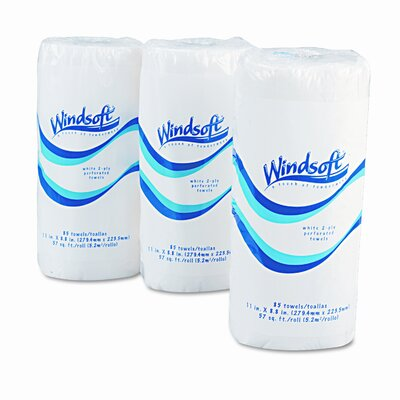 Windsoft Perforated Paper Towel Rolls, 8-7/8 x 11, White, 85/roll, 30/carton