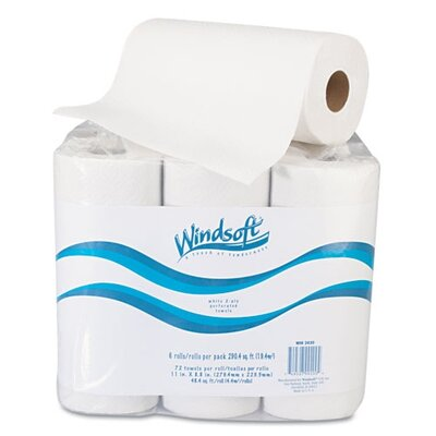 Windsoft Paper Towel Roll, 6 Rolls/Pack