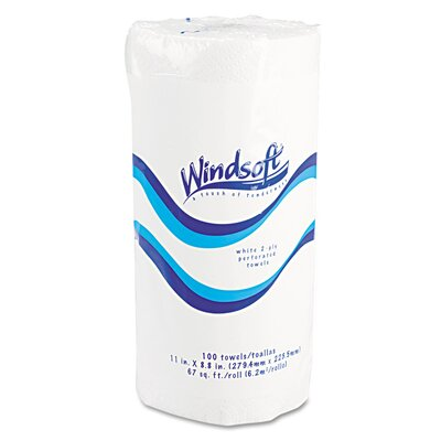 Windsoft Paper Towel Roll, 8-7/8 x 11, White, 100/roll