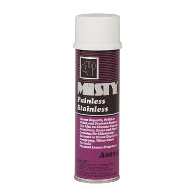 Misty Painless Stainless Steel Cleaner Lemon Scent Aerosol Can
