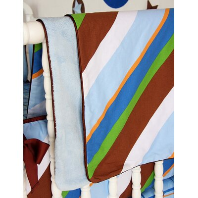 Caden Lane Boutique Diagonal Stripe Piped Blanket