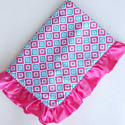 Caden Lane Ikat Diamond Pink Ruffle Blanket