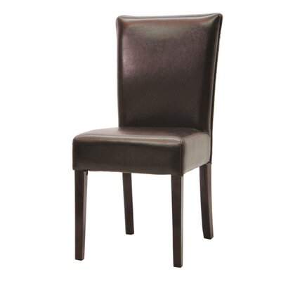 Hudson Woven Back Side Chair in Dark Brown