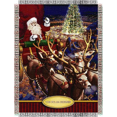 Northwest Co. Entertainment Tapestry Holiday Throw Blanket - Polar Express - Santa Flight