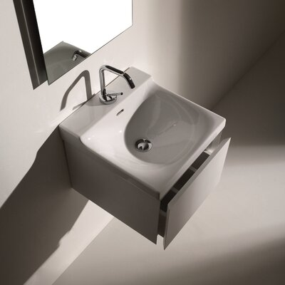 WS Bath Collections Buddy Wall-Mounted Cabinet with Ceramic Bathroom Sink