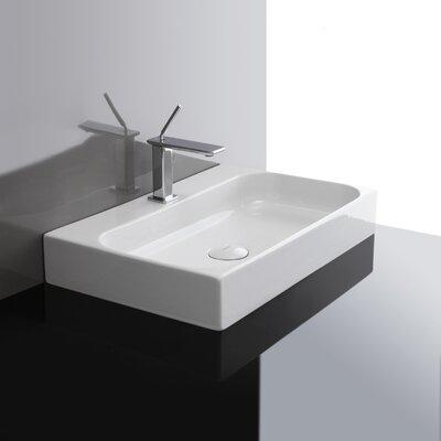 WS Bath Collections Unit Ceramic Wall Mounted Vessel Bathroom Sink