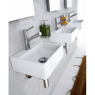 "WS Bath Collections Linea 13"" x 11.2"" Qaurelo Vessel Sink in White"