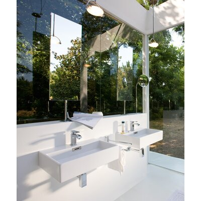 "WS Bath Collections Linea 5.1"" x 27.6"" Quarelo Wall Mount Bathroom Sink in White with Faucet Hole"