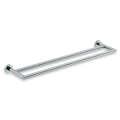 WS Bath Collections Baketo Double Towel Bar in Polished Chrome