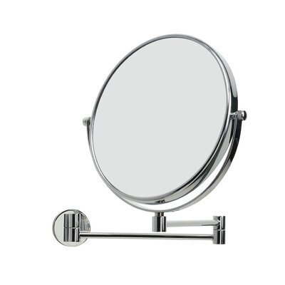 "WS Bath Collections Mirror Pure 9"" x 9"" Mevedo Make Up Magnifying Mirror Wall- mount Revolving and Extendable in Polished Chrome"