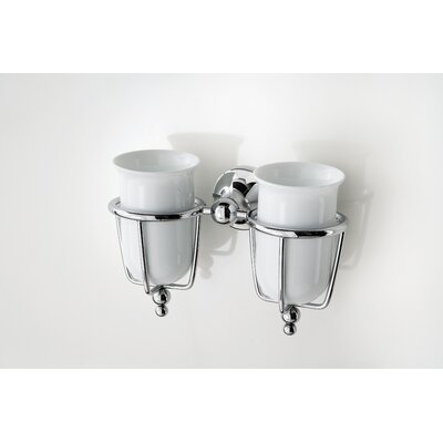 WS Bath Collections Venessia Double Tumbler Holder with Porcelain Tumblers in Polished Chrome
