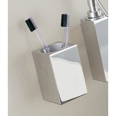 "WS Bath Collections Metric 7.8"" x 2.4"" Wall Toothbrush Holder in Polished Chrome"