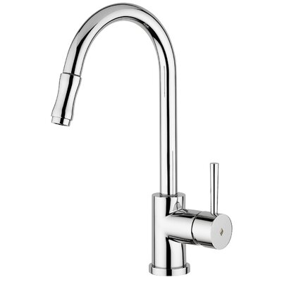 WS Bath Collections Evo One Handle Single Hole Kitchen Faucet with Pull-Out Spray