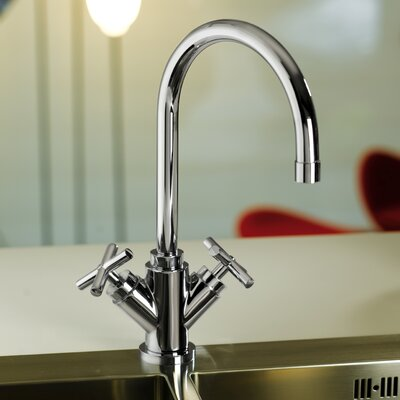 WS Bath Collections Quadro Two Handle Single Hole Kitchen Faucet with High Spout