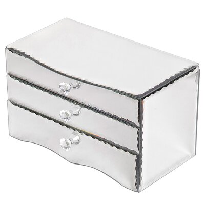 Crystal Mirrored Glass Two Drawer Jewelry Box