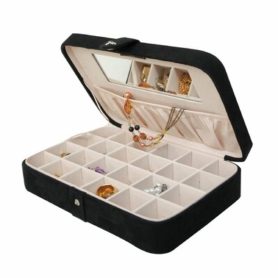 Mele & Co. Renee Sectioned Sueded Jewelry Box in Black