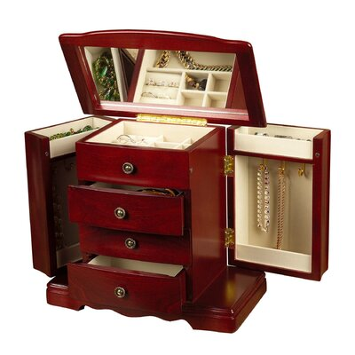 Mele & Co. Harmony Musical Jewelry Box in Cherry