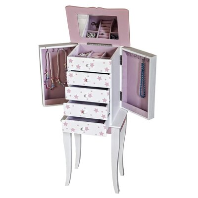 Trina Girls Pink and White Jewelry Armoire with Pink Stars
