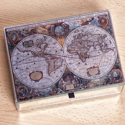 Mele & Co. Atlas Mirrored Glass Antique Map Jewelry Box