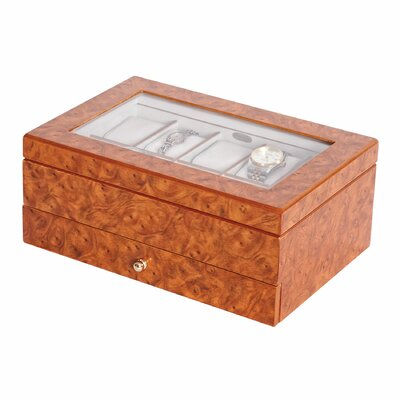 "Mele Peyton 4.75"" High Watch Box in Burlwood Oak"