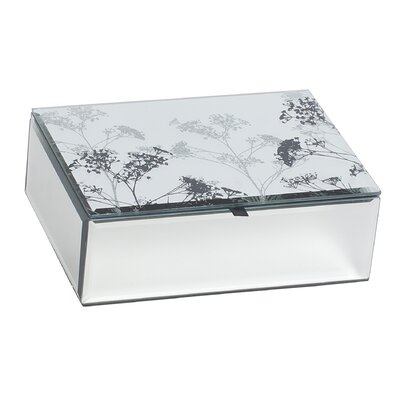 Cara Mirrored Glass Jewelry Box with Botanical Design