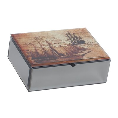 Leonardo Mirrored Glass Jewelry Box with Nautical Design