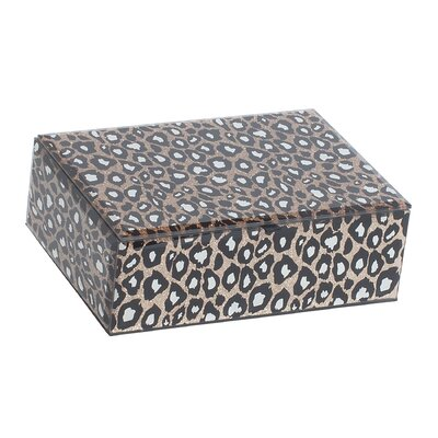 Candy Mirrored Glass Jewelry Box with Leopard Design