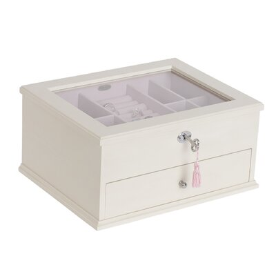 Felicity Glass Top Locking Wooden Jewelry Box