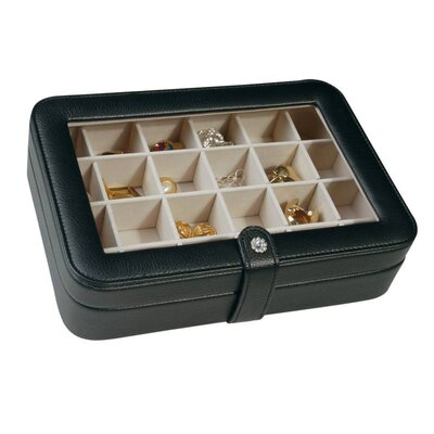Mele & Co. Elaine Faux Leather Crystal Jewelry Box with 24 Sections in Black