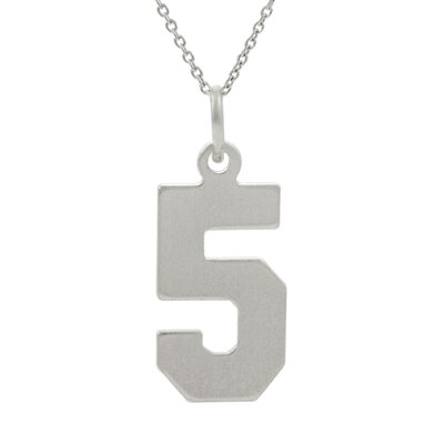 "Skyline Silver Sterling Silver Number ""5"" Necklace"