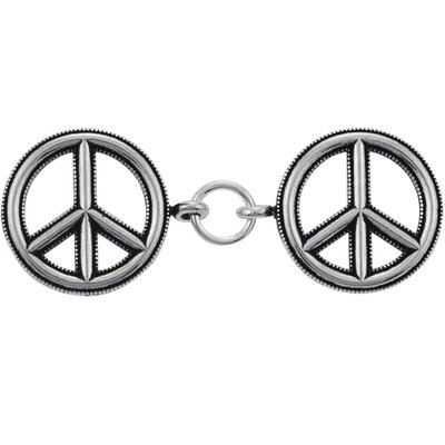 "Skyline Silver Sterling Silver 7"" Peace Sign Bracelet"