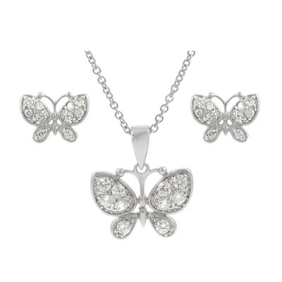 Sterling Silver CZ Pave Butterfly Necklace and Earring Set