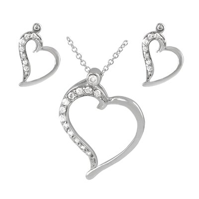 Sterling Silver CZ Lined Heart Necklace and Earring Set