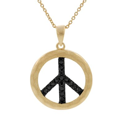 Gold Plated Sterling Silver with Black CZ Peace Sign Necklace