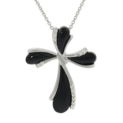 Skyline Silver Sterling Silver Black Onyx with CZ Accents Cross Necklace