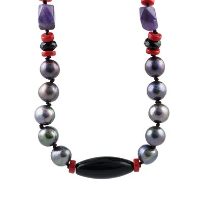Gray Freshwater Pearls with Amethyst and Onyx Stones