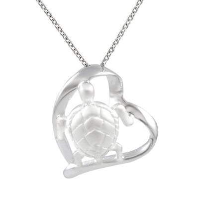 Skyline Silver Sterling Silver Heart with Turtle Necklace