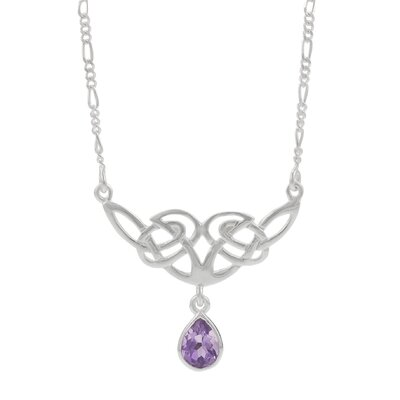 Skyline Silver Sterling Silver with Amethyst Celtic Necklace