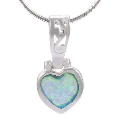 Sterling Silver Heart with Blue Opal Necklace