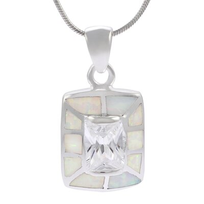 Skyline Silver Sterling Silver with White Opal Rectangular Necklace