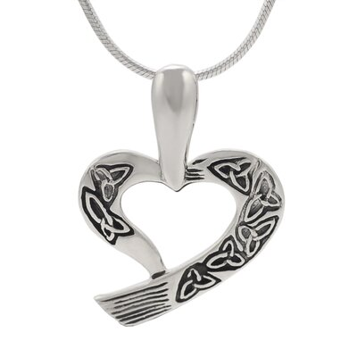 Sterling Silver Heart with Etched Triquetras Necklace