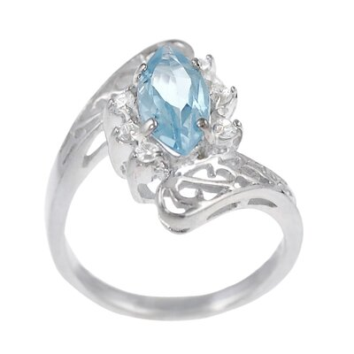 Sterling Silver Marquise Cut Blue Topaz Ring