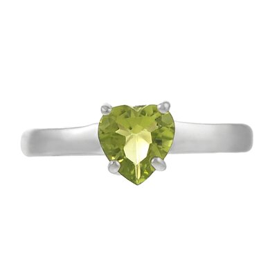 Skyline Silver Sterling Silver Heart Peridot Solitaire Ring