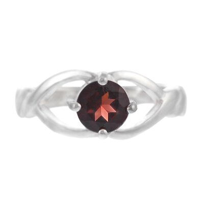 Skyline Silver Sterling Silver Garnet Round Cut Ring