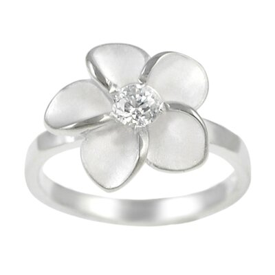 Sterling Silver Plumeria Ring with CZ Center