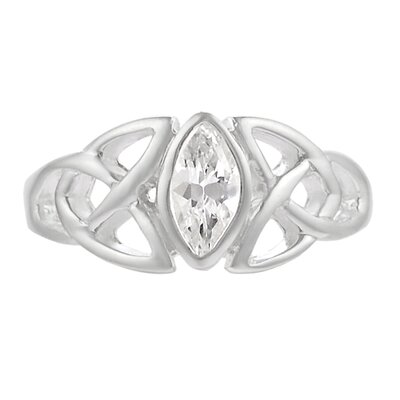 Skyline Silver Sterling Silver Celtic Triquetra with CZ Ring