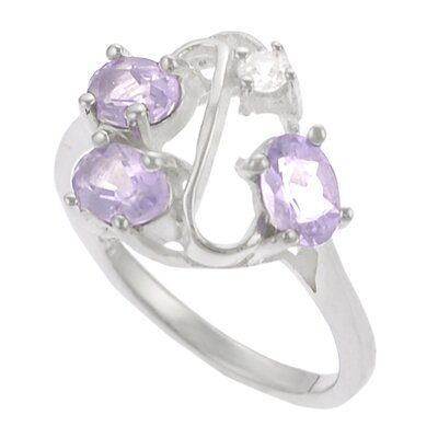Skyline Silver Sterling Silver with CZ and Amethyst Ring