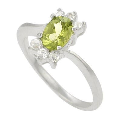 Skyline Silver Sterling Silver Oval Peridot with CZ Ring